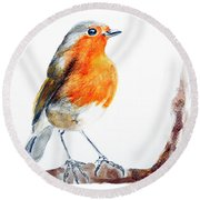 Round Beach Towel featuring the painting I Am Happy by Jasna Dragun