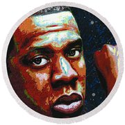 I Am Jay Z Round Beach Towel by Maria Arango