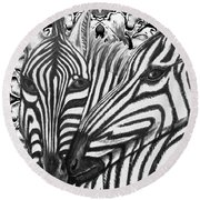 I Am So Into You Zebra Love Round Beach Towel
