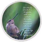 Round Beach Towel featuring the photograph I Am The Light Of The World by Debby Pueschel