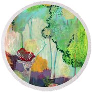 I Am The Meadow In The Forest Round Beach Towel