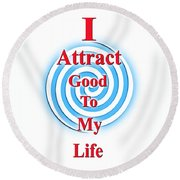 I Attract Red White Blue Round Beach Towel
