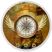 Round Beach Towel featuring the mixed media I Believe I Can Soar by Marvin Blaine