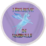 Round Beach Towel featuring the painting I Believe In Unibulls by Jindra Noewi
