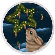 Round Beach Towel featuring the painting I Can Smell The Christmas In The Air by Veronica Minozzi