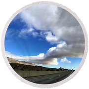 I Follow The Clouds Round Beach Towel