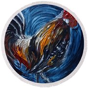 I Gayu Guam Rooster Round Beach Towel