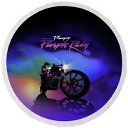 I Grew Up With Purplerain 2 Round Beach Towel
