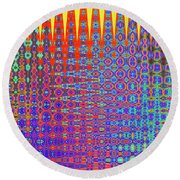 I Had A Happy Childhood Round Beach Towel by Ann Johndro-Collins