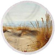 I Hear You Coming  Round Beach Towel by Kathi Mirto