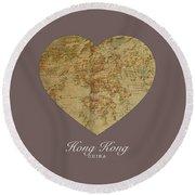 I Heart Hong Kong Street Map Love Series No 101 Round Beach Towel