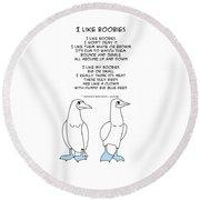 Round Beach Towel featuring the drawing I Like Boobies by John Haldane