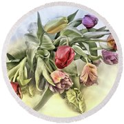 I Like Tulips Round Beach Towel