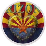 I Love Arizona Flag Round Beach Towel