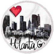 Round Beach Towel featuring the digital art I Love Atlanta Ga by Sladjana Lazarevic