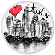 I Love Austin Round Beach Towel