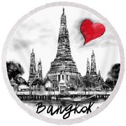 I Love Bangkok Round Beach Towel