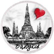 Round Beach Towel featuring the digital art I Love Bangkok by Sladjana Lazarevic