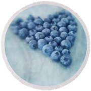 I Love Blueberries Round Beach Towel by Priska Wettstein