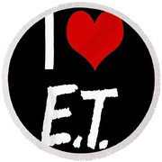 Round Beach Towel featuring the digital art I Love E.t. by Gina Dsgn