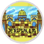 I Love Jerusalem Round Beach Towel