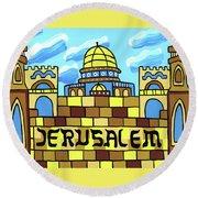 I Love Jerusalem Round Beach Towel