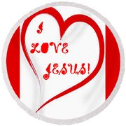 I Love Jesus Round Beach Towel