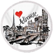 Round Beach Towel featuring the drawing I Love Melbourne  by Sladjana Lazarevic