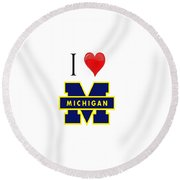 I Love Michigan Round Beach Towel