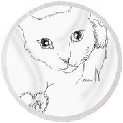 Round Beach Towel featuring the drawing I Love Misty by Denise Fulmer
