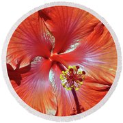 I Love Orange Flowers 2 Round Beach Towel by Lydia Holly