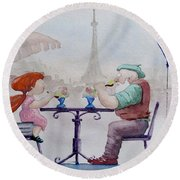 Round Beach Towel featuring the painting I Love Paris Grandpa by Geni Gorani