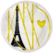 I Love Paris Round Beach Towel