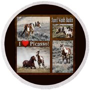I Love Picasso Collage Round Beach Towel by Nadja Rider