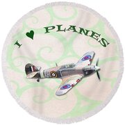 I Love Planes - Hurricane Round Beach Towel