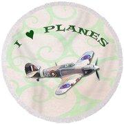 Round Beach Towel featuring the digital art I Love Planes - Hurricane by Paul Gulliver