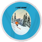 Round Beach Towel featuring the painting I Love Skiing  by Bill Holkham
