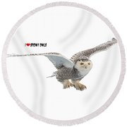 I Love Snowy Owls T-shirt Round Beach Towel