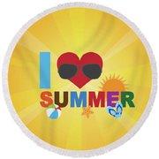 I Love Summer Beach Scene Illustration Round Beach Towel