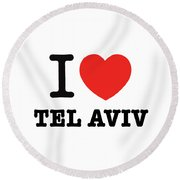 Round Beach Towel featuring the photograph i love Tel Aviv by Ron Shoshani