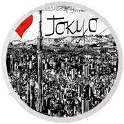 Round Beach Towel featuring the digital art I Love Tokyo by Sladjana Lazarevic