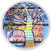 Round Beach Towel featuring the painting I Love Trees by Genevieve Esson