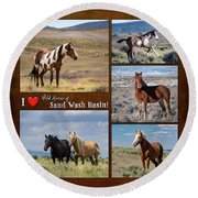 I Love Wild Horses Of Sand Wash Basin Round Beach Towel