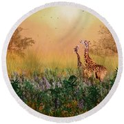 Round Beach Towel featuring the photograph I Love You Mom by Diane Schuster