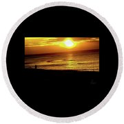 In The Afterglow Of The Day. Round Beach Towel