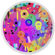 Round Beach Towel featuring the digital art I Once Was Happy by Silvia Ganora