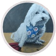 Round Beach Towel featuring the painting No Bowls by Kevin Daly