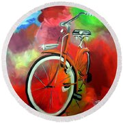Round Beach Towel featuring the painting I Ride My Bike by Tom Riggs