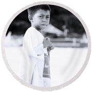 Round Beach Towel featuring the photograph I Rule The Beach by Jez C Self