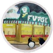 I Said Flounder Not Fudge Round Beach Towel by Patricia Arroyo
